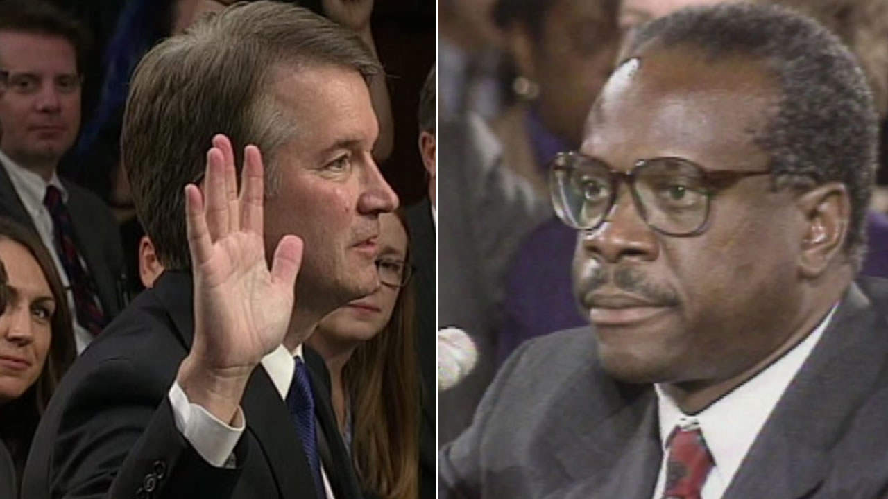 Brett Kavanaugh, left, is pictured next to Clarence Thomas, right.