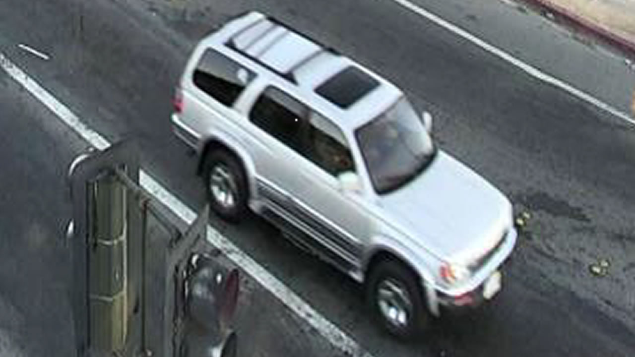 Police have released surveillance photos of the vehicle suspected in a hit-and-run in front of Antioch High School and its California license plate, 4YGW385.