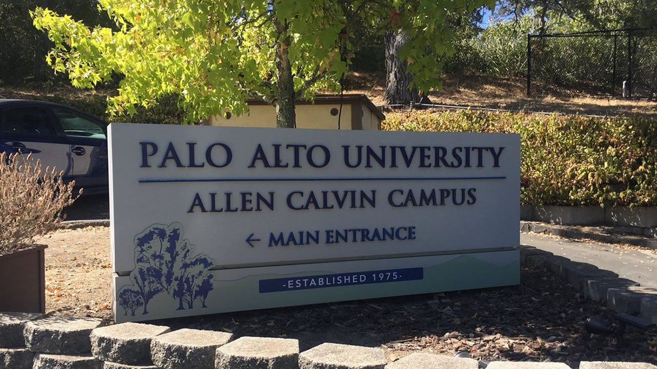 A sign in front of Palo Alto University, where Professor Christine Blasey Ford teaches, is pictured on Monday, Sept. 17, 2018.