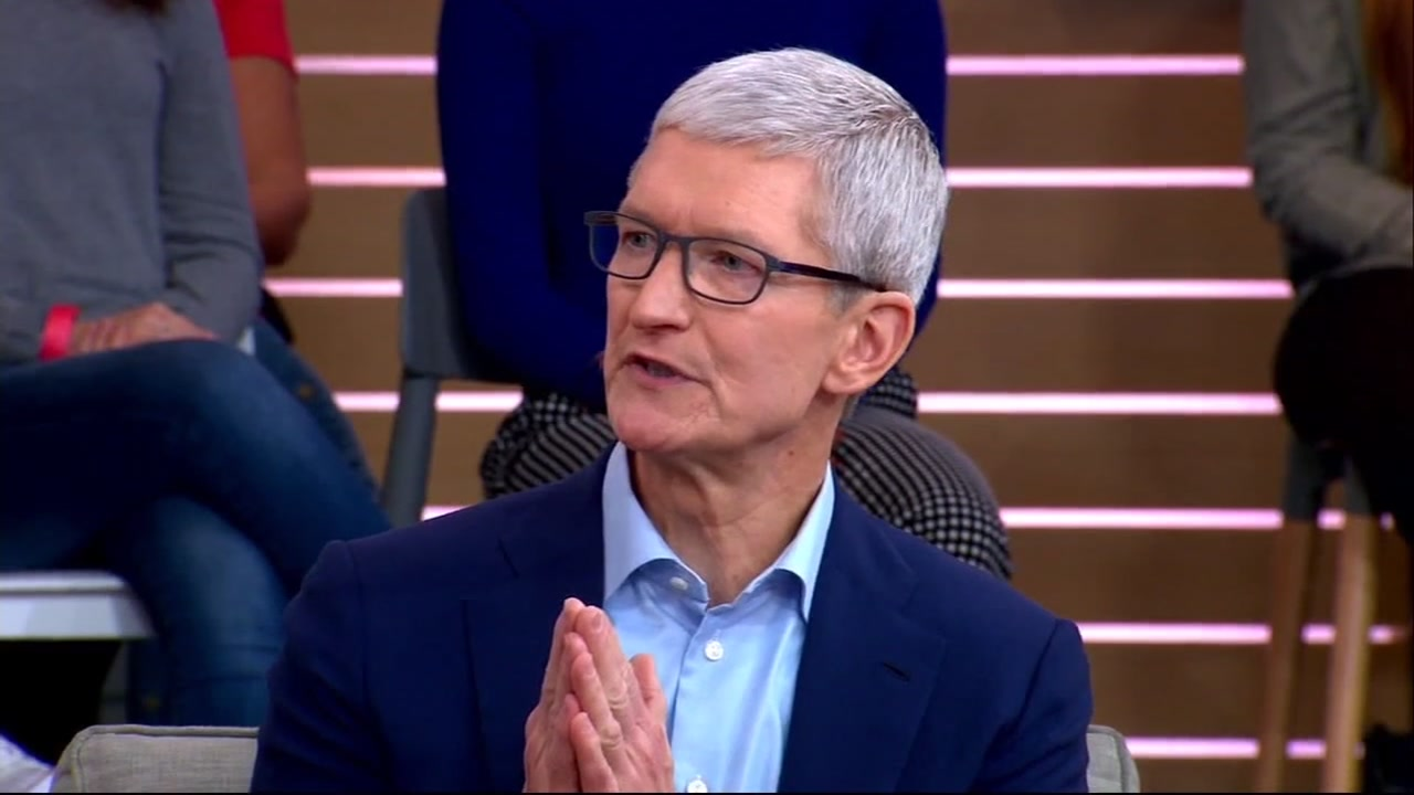 Apple CEO Tim Cook talks to Robin Roberts on Good Morning America Tuesday, Sept. 18, 2018.