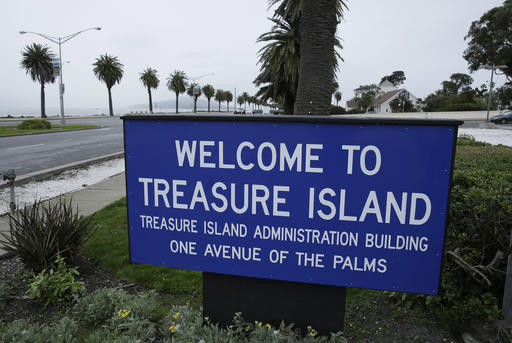 In this Dec. 14, 2016, photo, a sign welcomes visitors to Treasure Island in San Francisco.