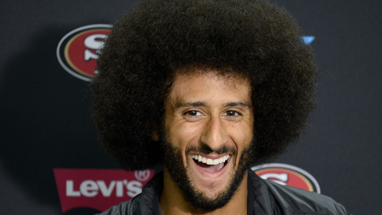 Colin Kaepernick talks to the media at a news conference an NFL preseason football game against the San Diego Chargers Thursday, Sept. 1, 2016, in San Diego.