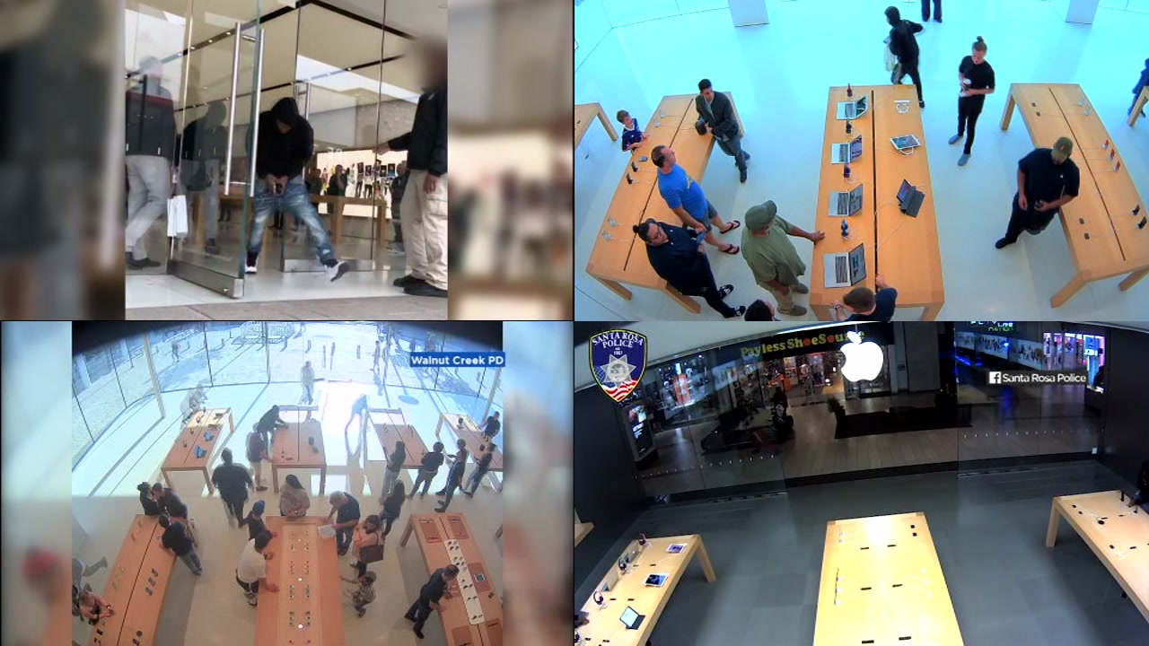 Video shows four instances of robberies at Apple Stores in the Bay Area.