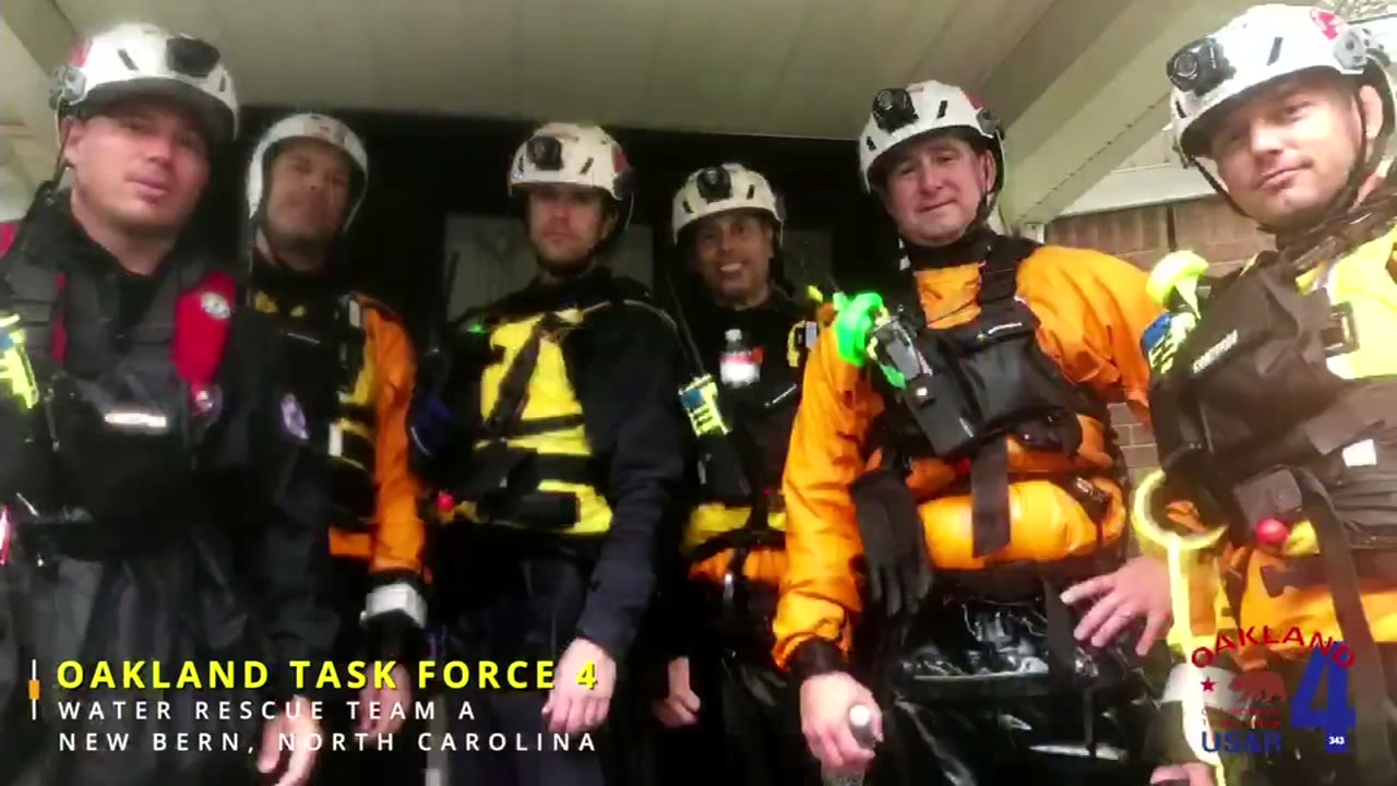 Members of California Urban Search and Rescue Task Force 4 in North Carolina during Hurricane Florence.