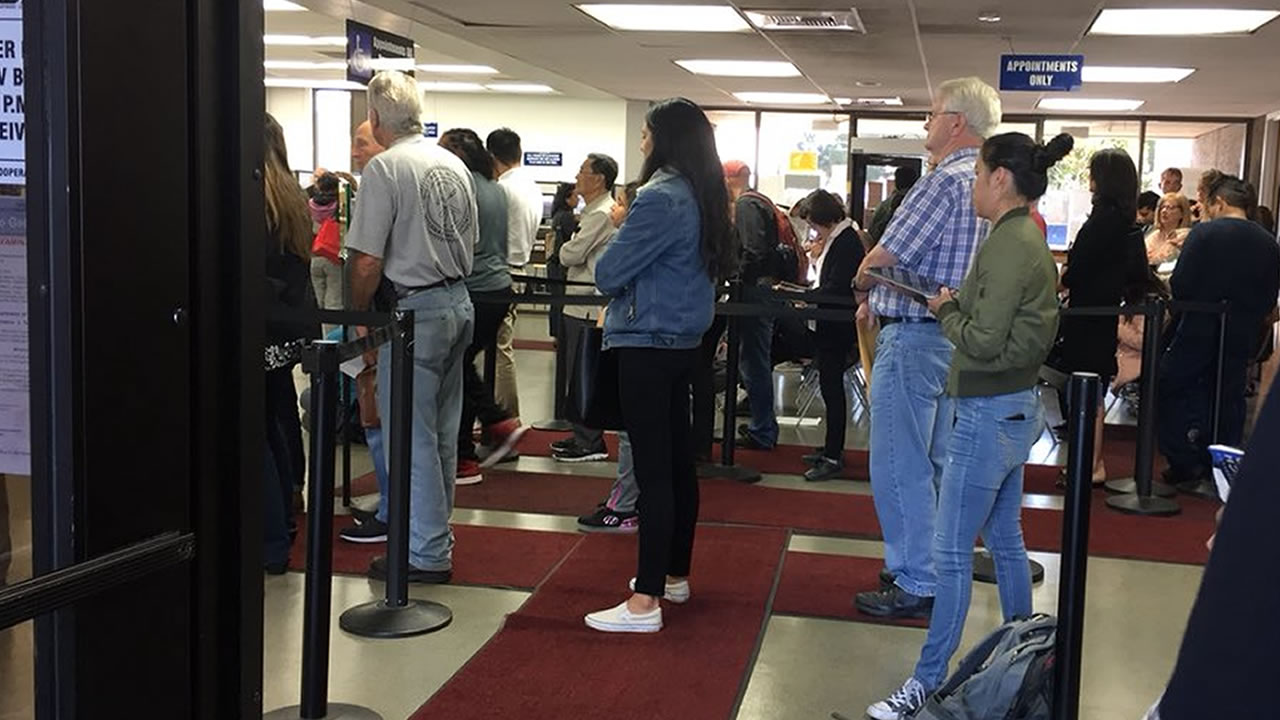 A line at the DMV in San Mateo, Calif. is seen on Sept. 20, 2018.