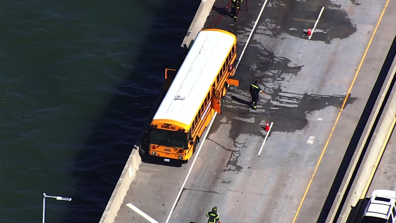 A bus fire has shut down westbound lanes of the Richmond Bridge on Friday, Sept. 21, 2018.