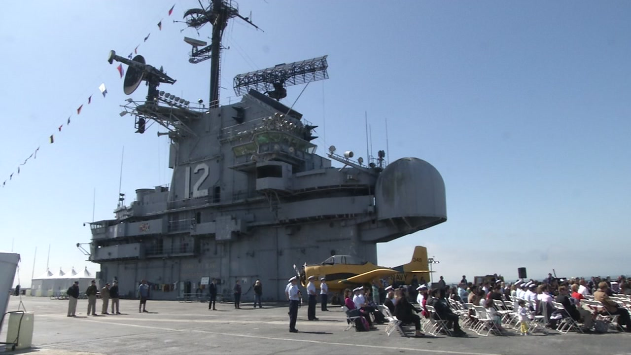 The USS Hornet is pictured in Alameda, Calif.