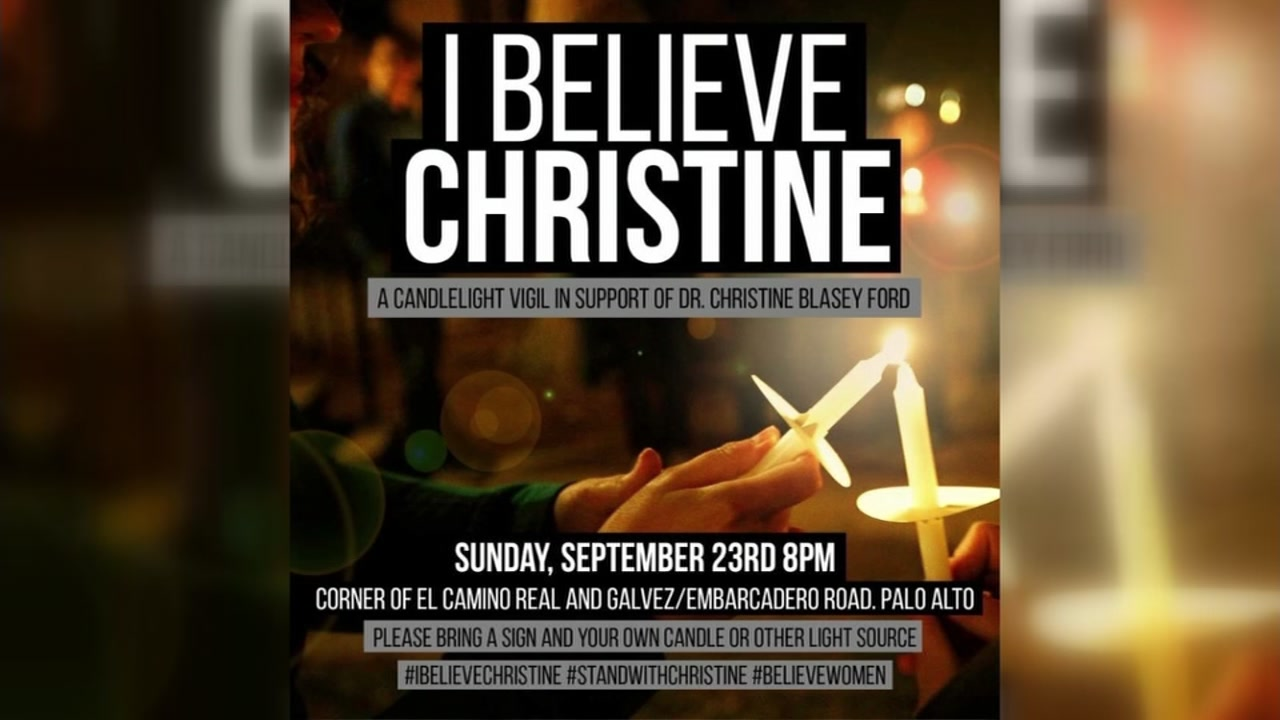 A poster for a candlelight vigil being held on Sunday Sept. 23, 2018, in Palo Alto, Calif., to show solidarity with Christine Blasey Ford.