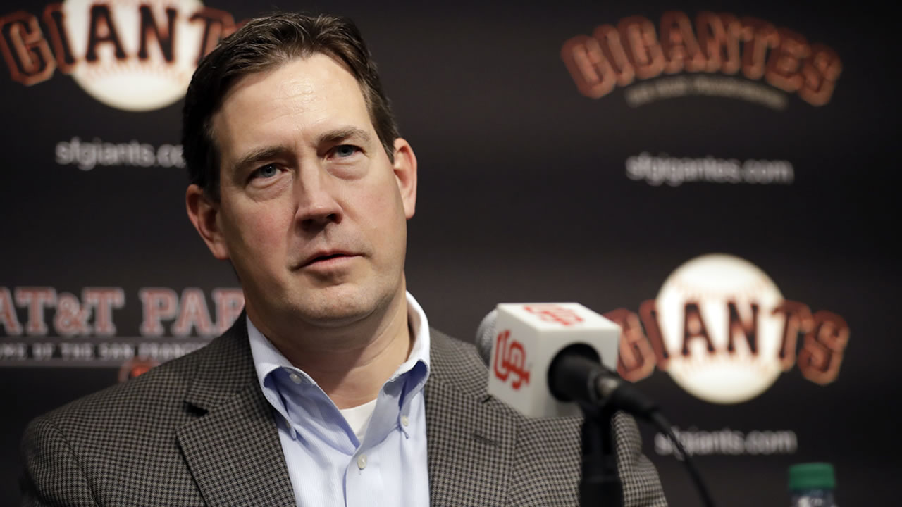 In this Jan. 19, 2018, file photo, San Francisco Giants general manager Bobby Evans speaks during a news conference in San Francisco.