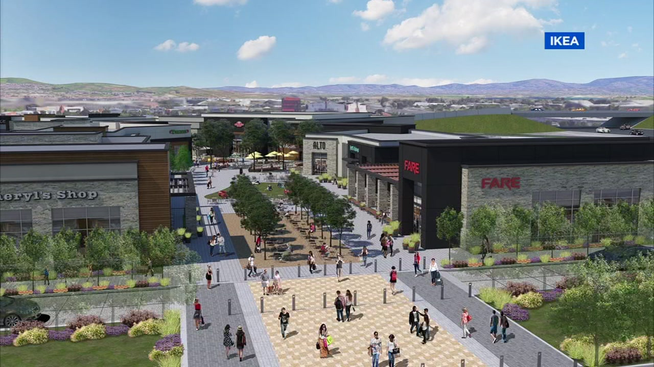 A rendering shows plans for a large retail mall featuring an IKEA in Dublin, Calif.