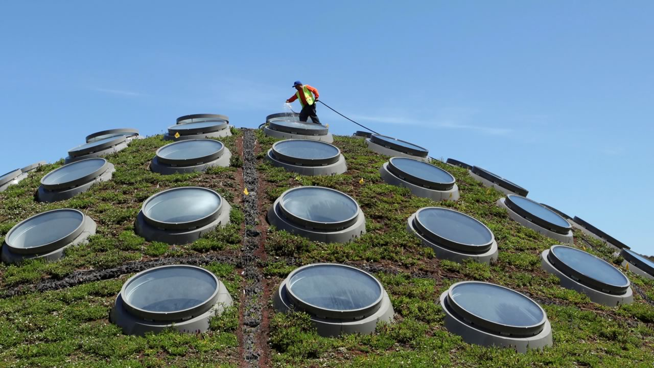 Contractor Guadencio Sanchez waters the Living Roof at the California Academy of Sciences in San Franciscos Golden Gate Park, Monday, April 20, 2009.