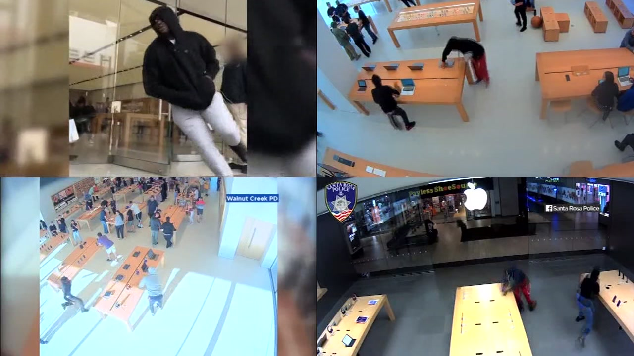 Surveillance footage shows several robberies at Apple stores across the Bay Area.