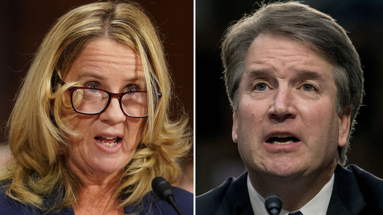Christine Blasey Ford is seen on the left and Brett Kavanaugh is seen on the right.