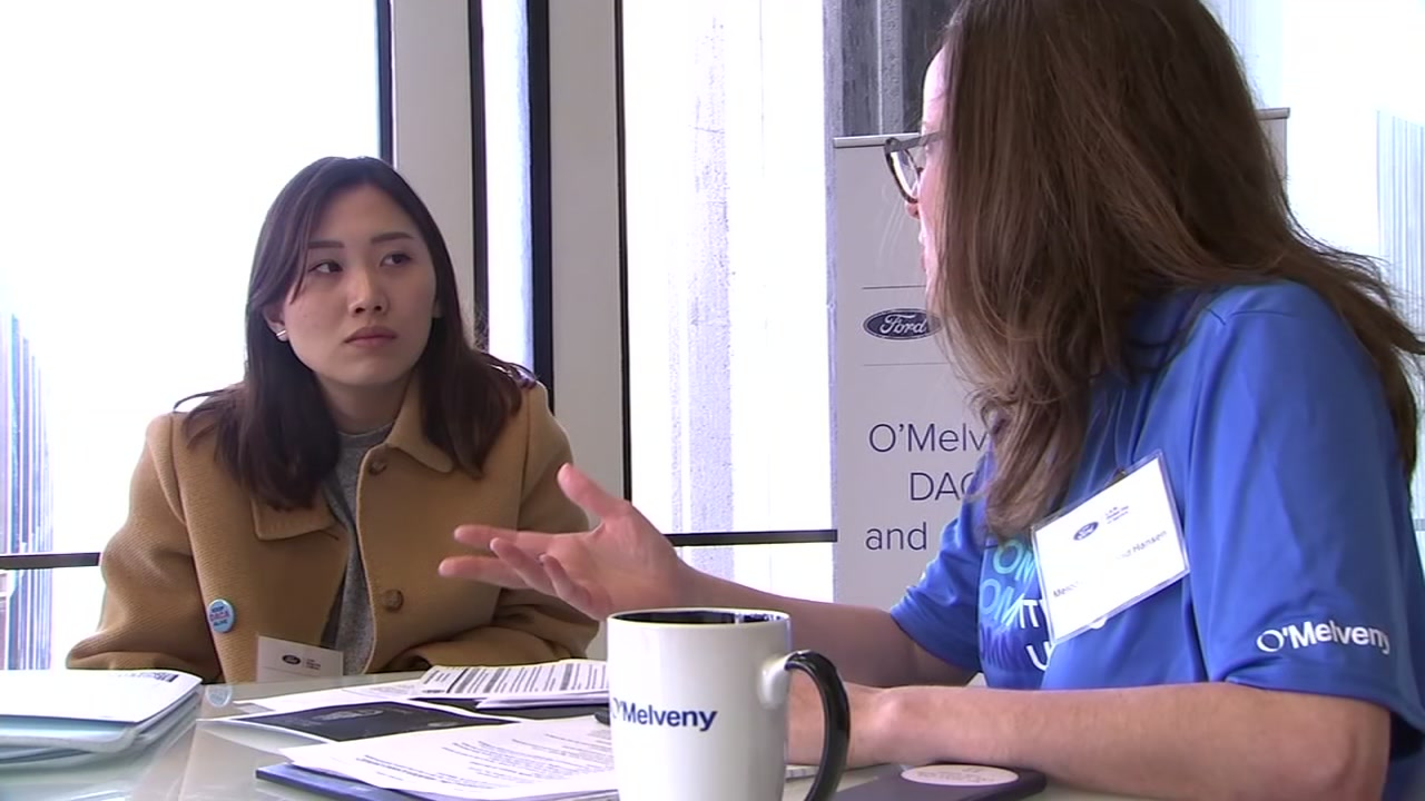 DACA recipients get advice at OMelveny and Myers law firm in San Francisco on Sept. 27, 2018.