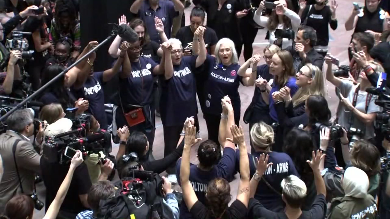 People demonstrated in solidarity with Christine Blasey Ford at the Hart Senate Office Building in Washington, D.C., on Sept. 27, 2018.