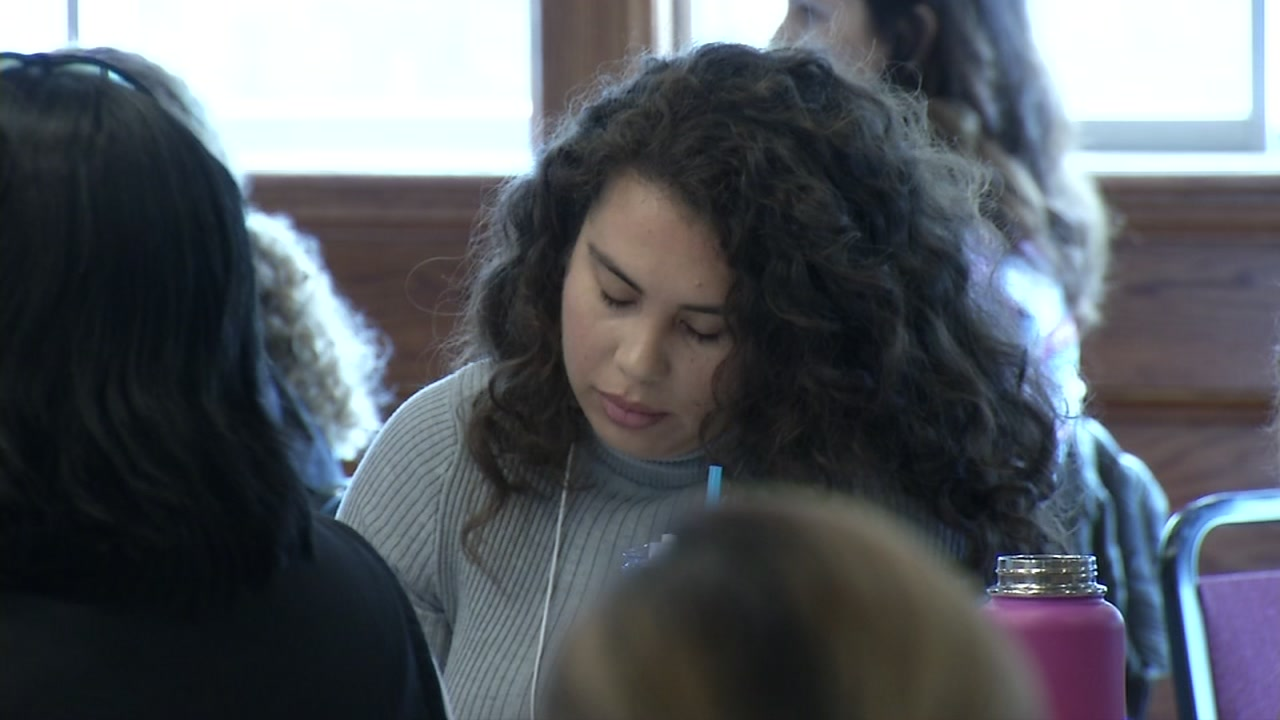 Students attend a symposium on sexual assault prevention at San Francisco State University on Sept. 27, 2018.