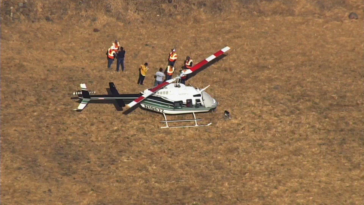 SKY7 is over a Bell 206-L4 helicopter in Calistoga, Calif. on Thursday, Sept. 27, 2018.