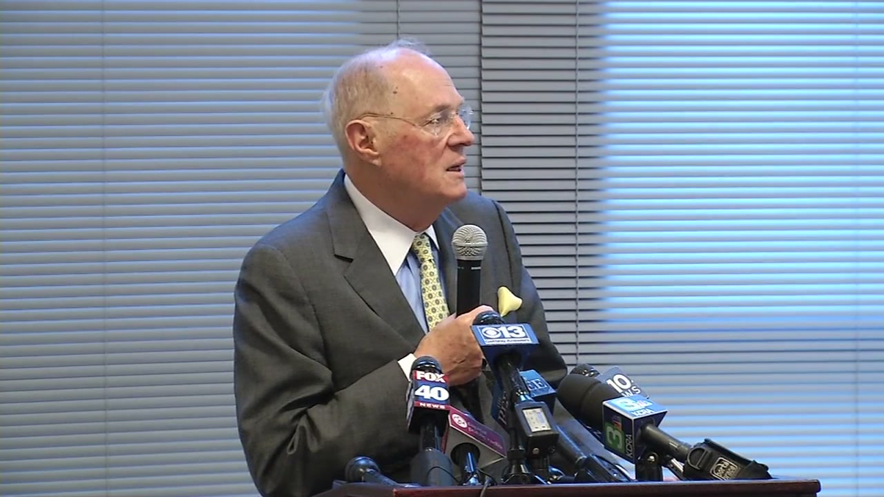 Retired Supreme Court Justice Anthony Kennedy spoke to students about the Constitution in Sacramento, Calif. on Friday, Sept. 28, 2018.