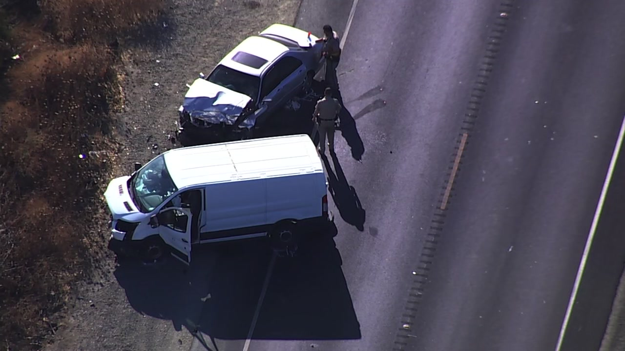 SKY7 is over a car crash on Highway 4 in Discovery Bay, Calif. on Friday, Sept. 28, 2018.