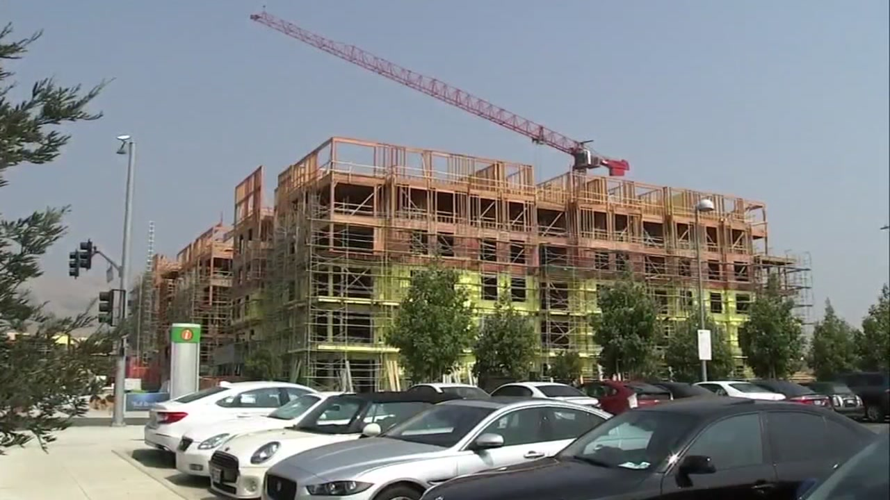 A housing project is underway next to the Dublin-Pleasanton BART station.