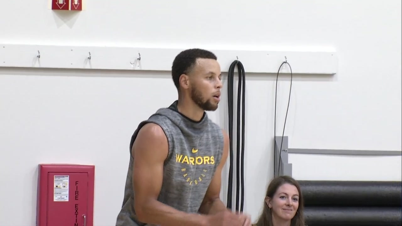 Stephen Curry prepares to catch a ball during a Warriors practice in this undated file photo.