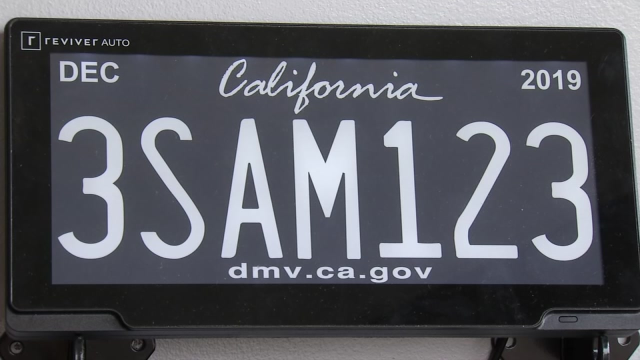 A digital license plate is pictured in Redwood City, Calif. on Tuesday, Oct. 2, 2018.