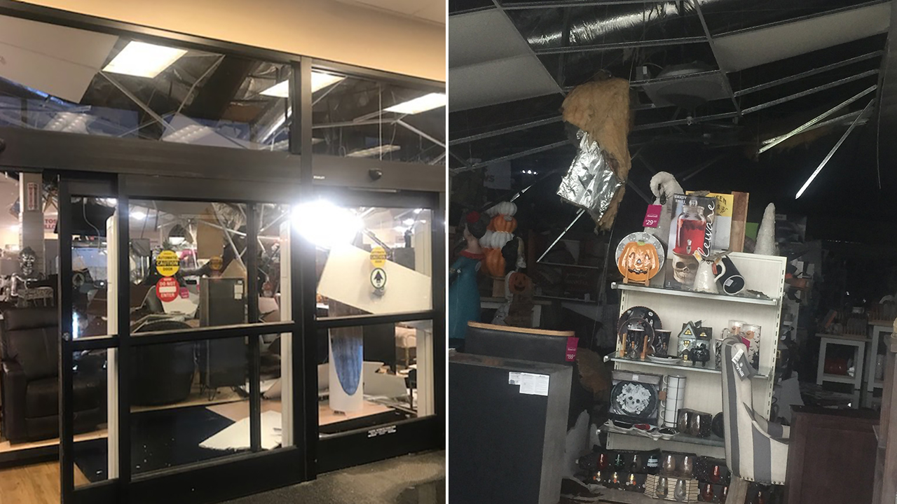 Roof collapse at HomeGoods store in San Rafael, California on Tuesday, October 2, 2018.