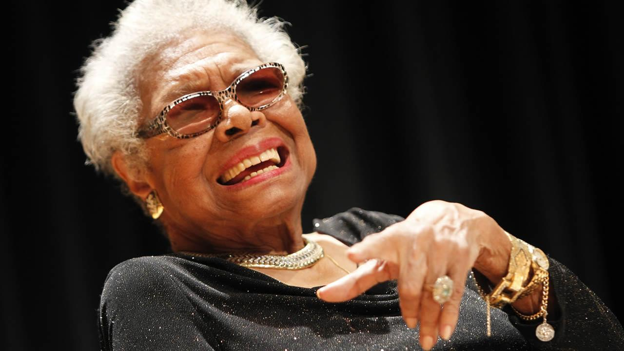 Maya Angelou answers questions at her portrait unveiling at the Smithsonians National Portrait Gallery (Paul Morigi/AP Images for National Portrait Gallery)