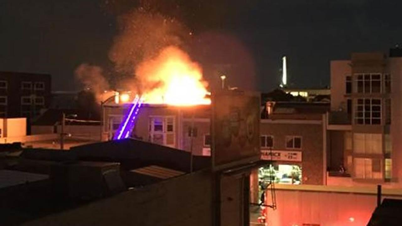 Harrison building on fire