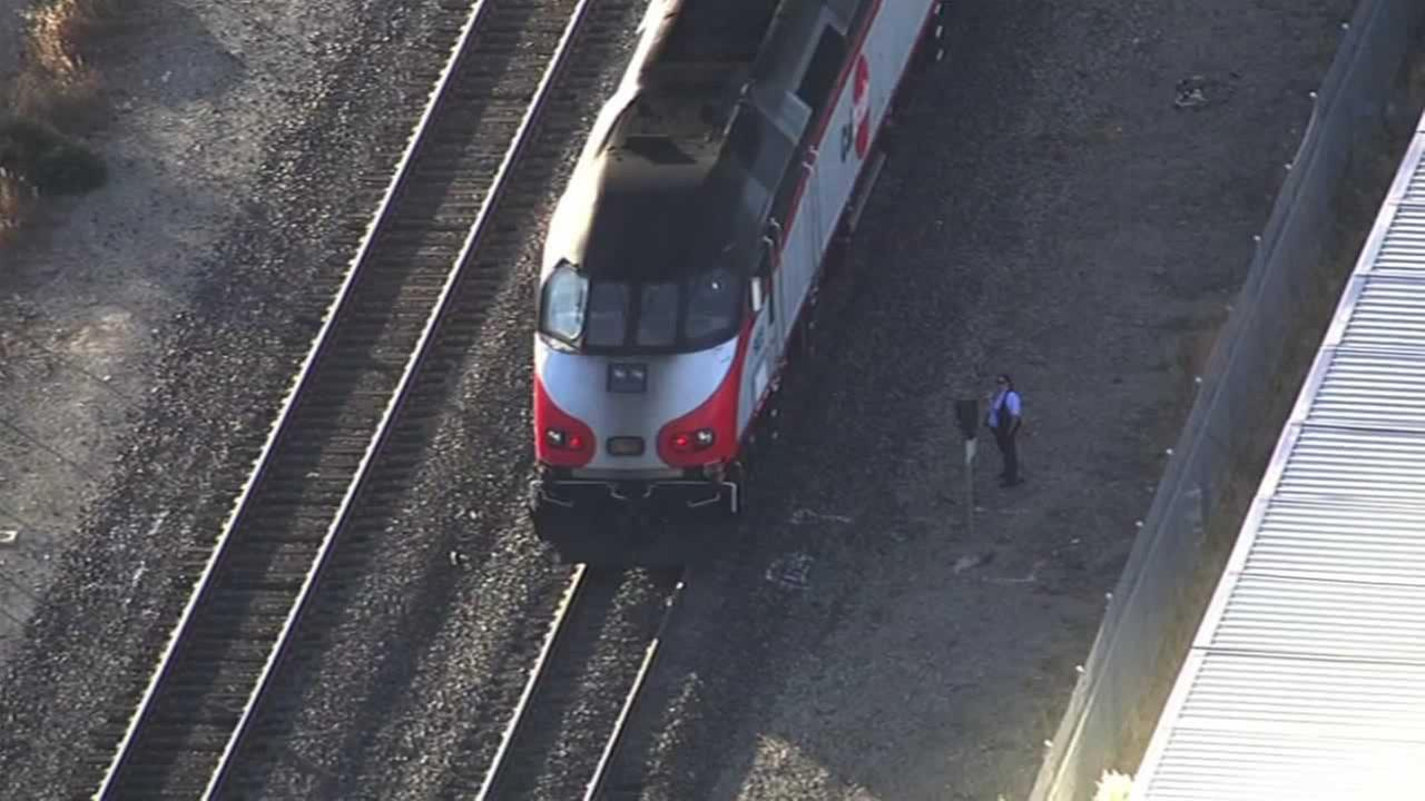 A train rammed a vehicle in Burlingame, Calif. on Friday, September 25, 2015, disrupting the evening commute for thousands of people.