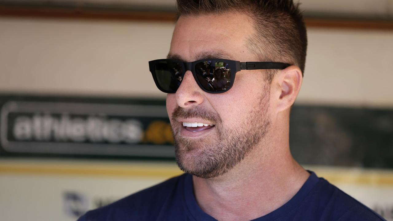 Former Oakland Athletics pitcher Mark Mulder speaks to reporters prior to the baseball game against the San Francisco Giants Saturday, Sept. 26, 2015, in Oakland, Calif.