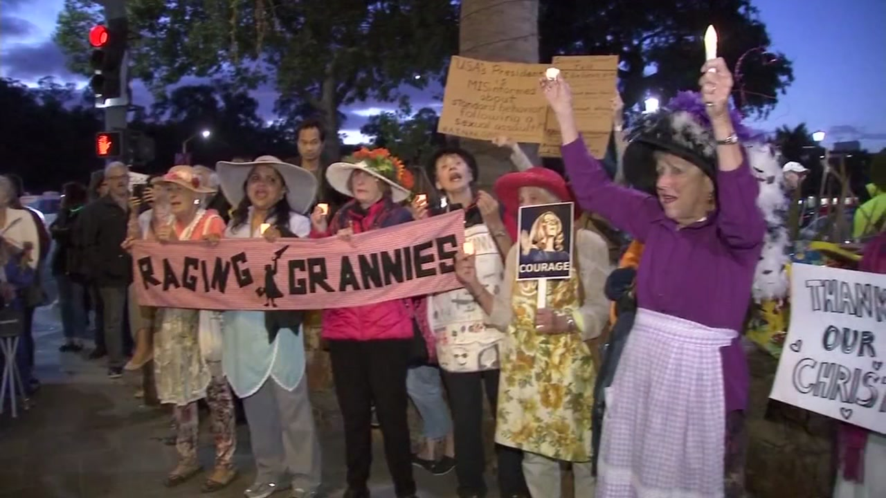The Raging Grannies protests Brett Kavanaughs Supreme Court nomination in Palo Alto, Calif., on Oct. 4, 2018.
