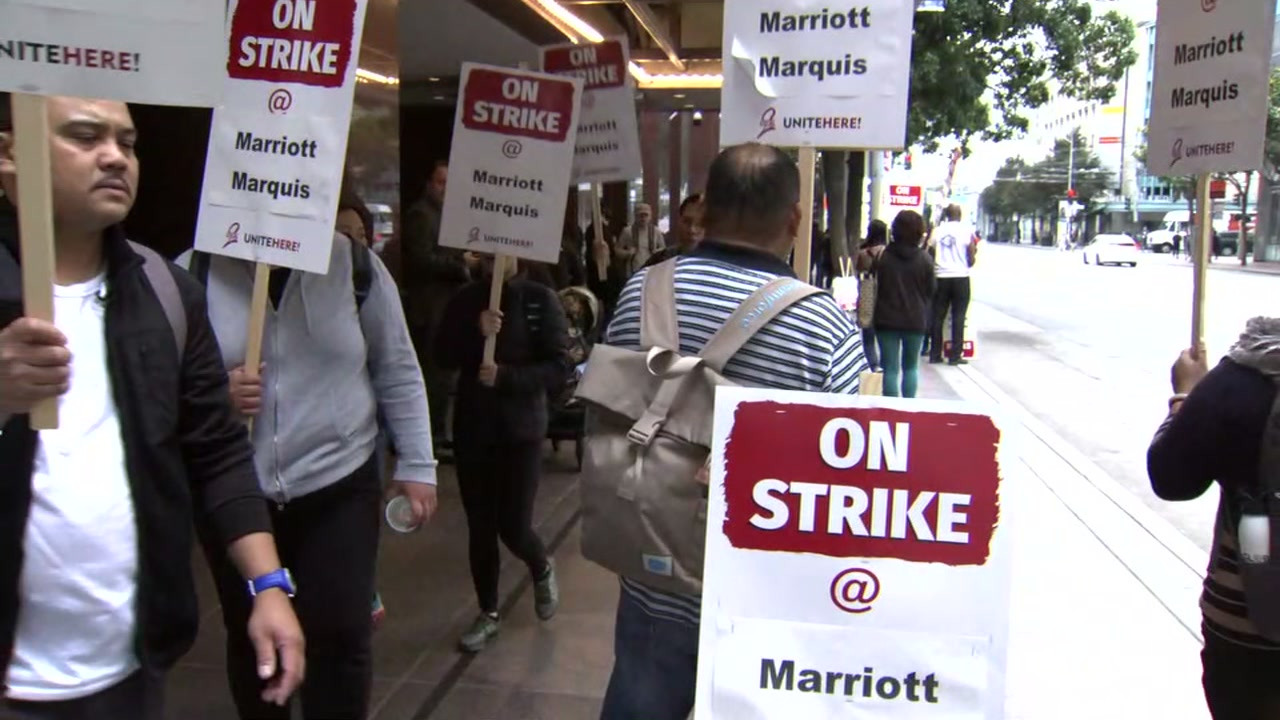 Marriott hotel workers go on strike in SF
