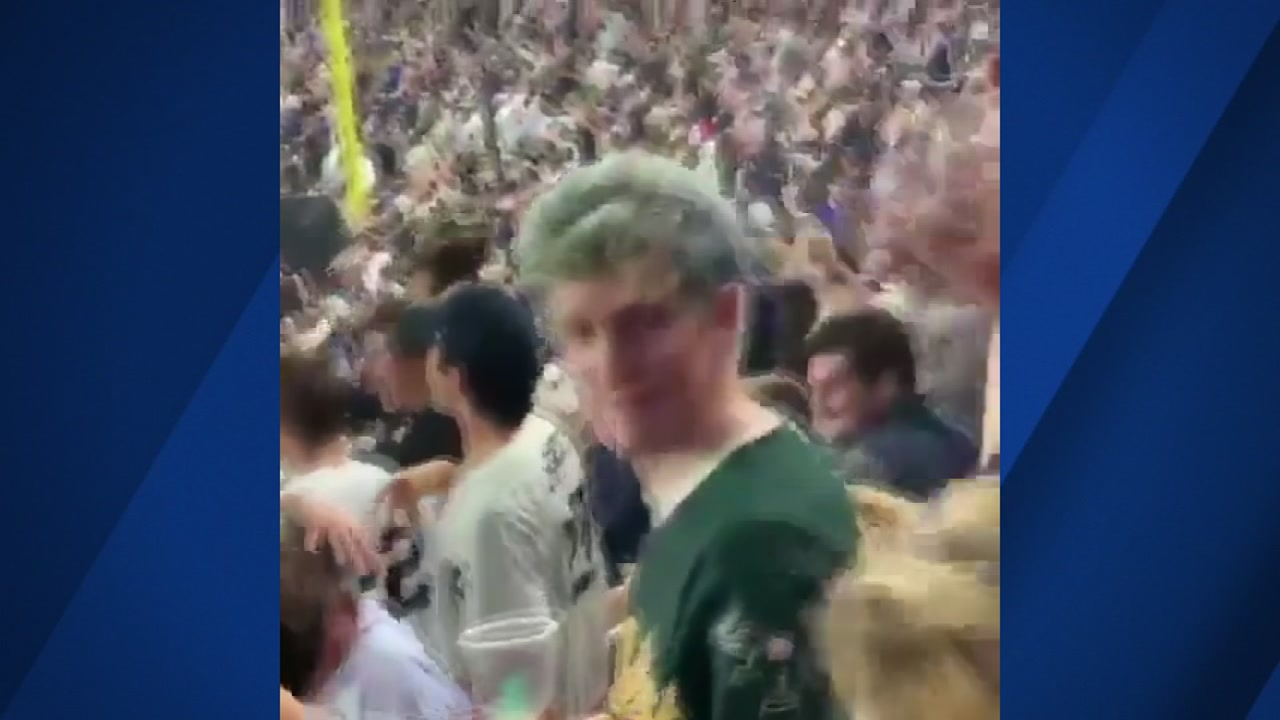 Oakland As fan John Spencer was doused with beer on Wednesday night at a Yankees game in New York.