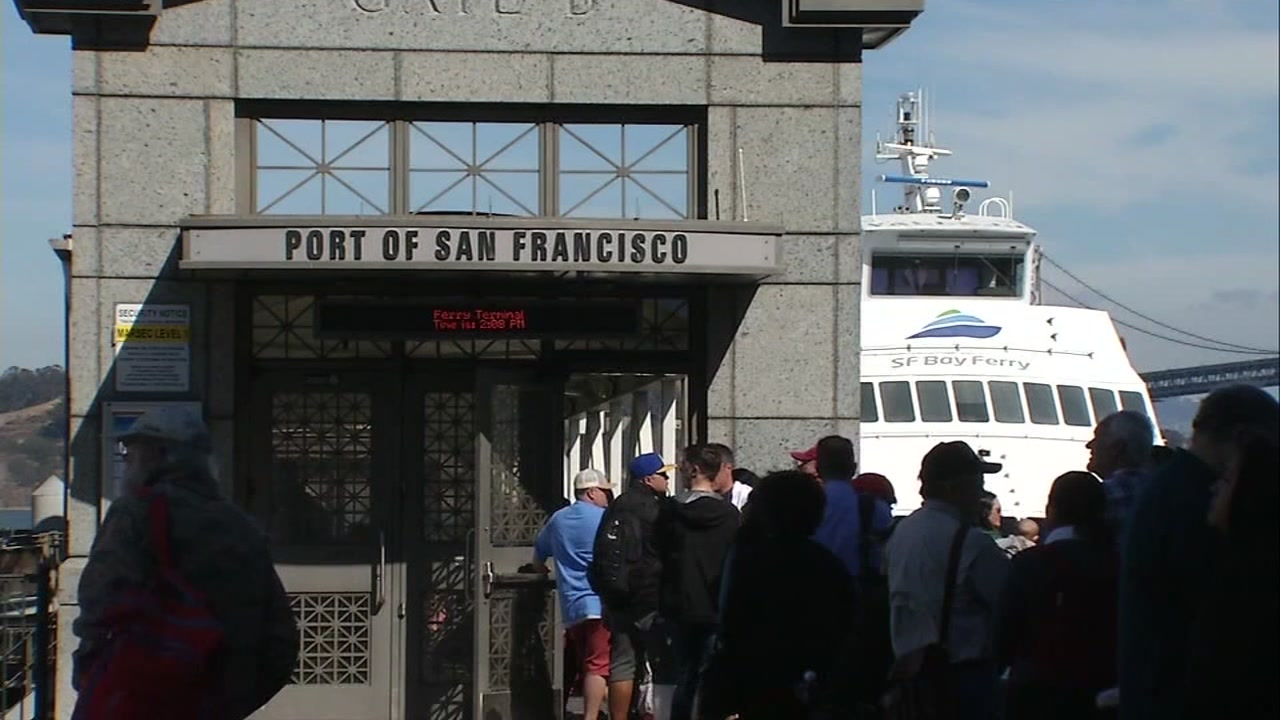 A long line of people forms at the Port of San Francisco on Friday, Oct. 5, 2018.