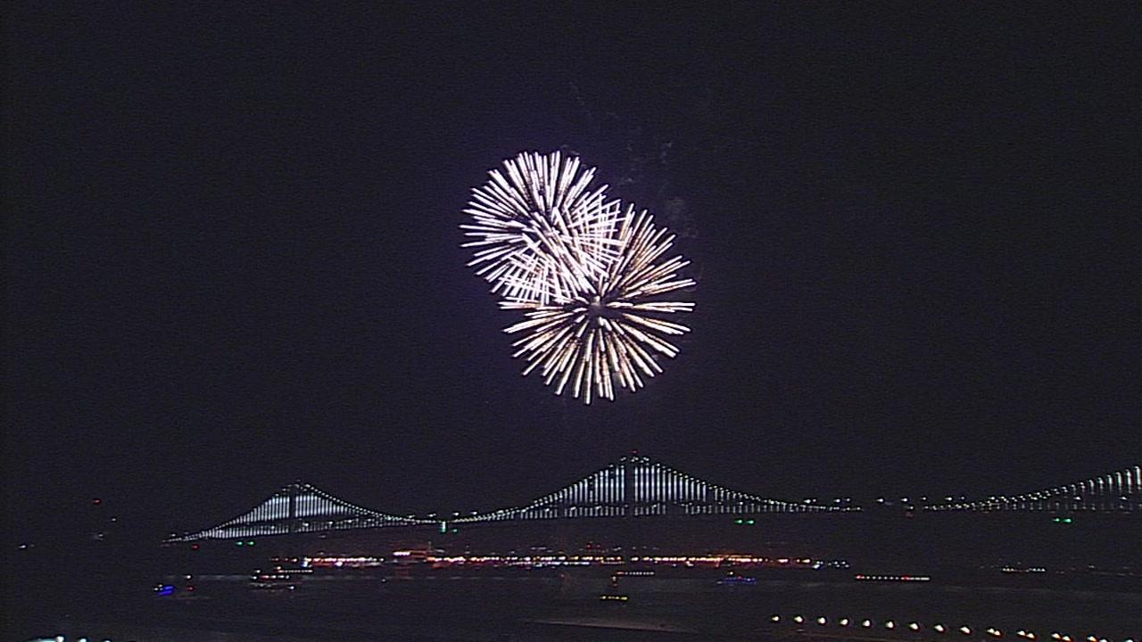 Fireworks over San Francisco Bay on Oct. 6, 2018.
