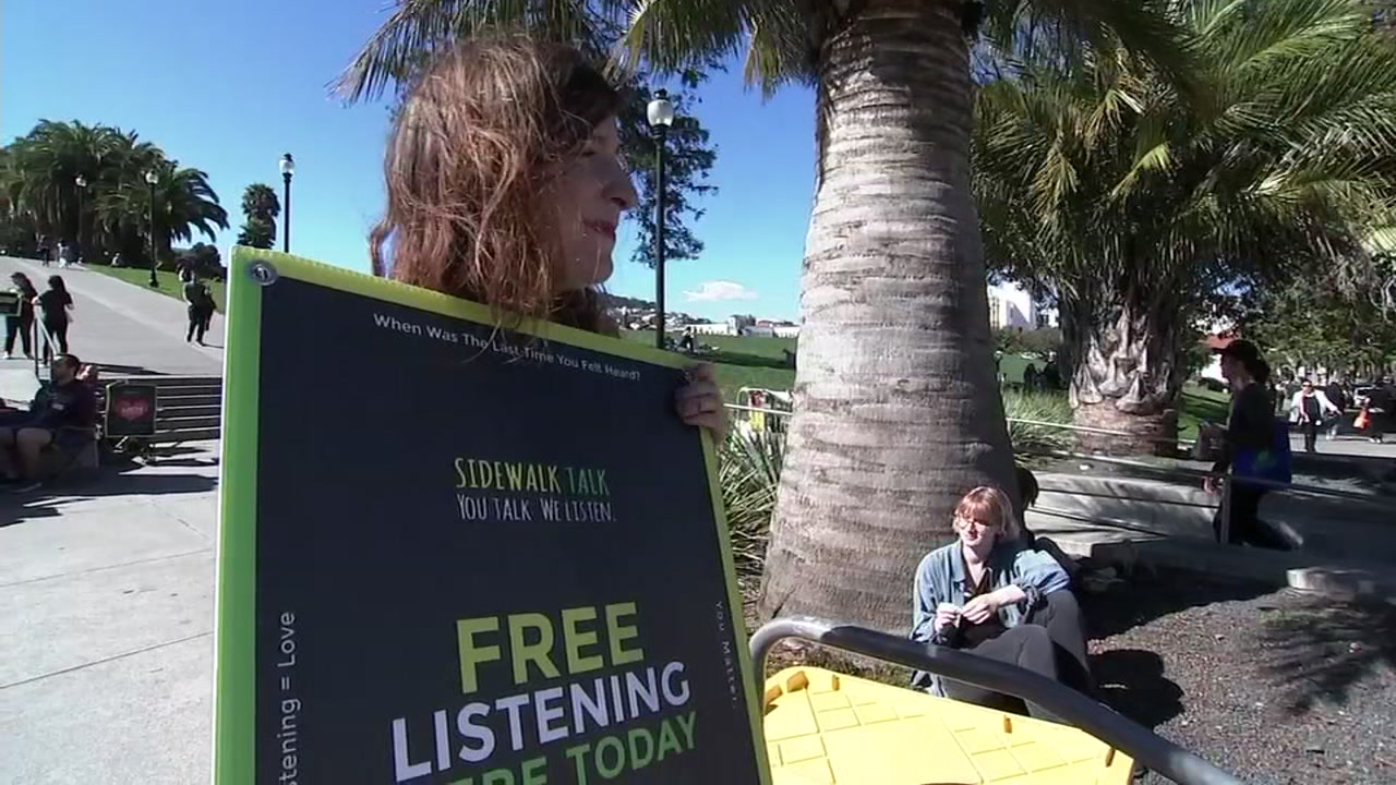 A group called Sidewalk Talk held free listening sessions in San Franciscos Dolores Park on Oct. 6, 2018.