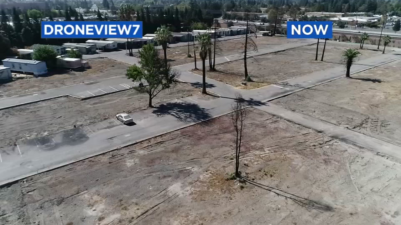 This image taken by DRONEVIEW7 in 2018 shows whats left of the Journeys End Mobile Home Park in Santa Rosa, Calif.