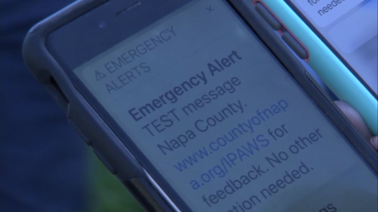 An IPAWS emergency alert message is pictured on a cellphone in Napa County, Calif. on Tuesday, Oct. 9, 2018.