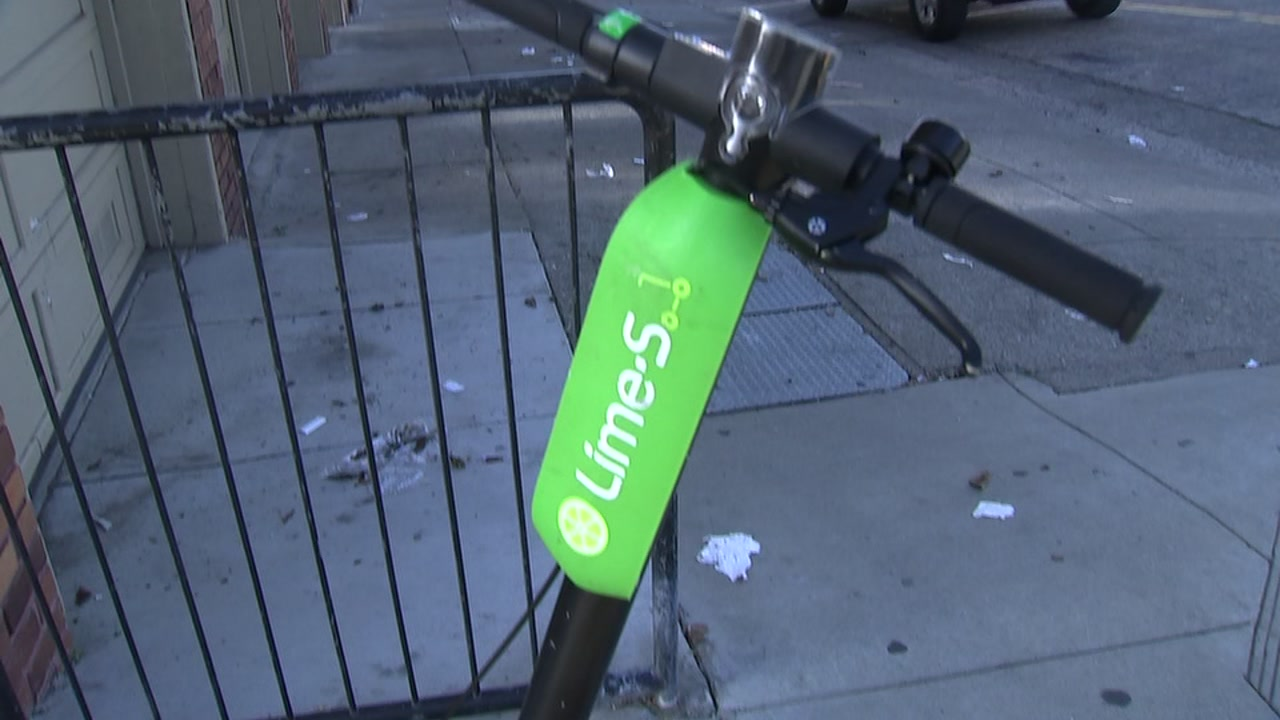 A Lime scooter is seen on Oct. 11, 2018.