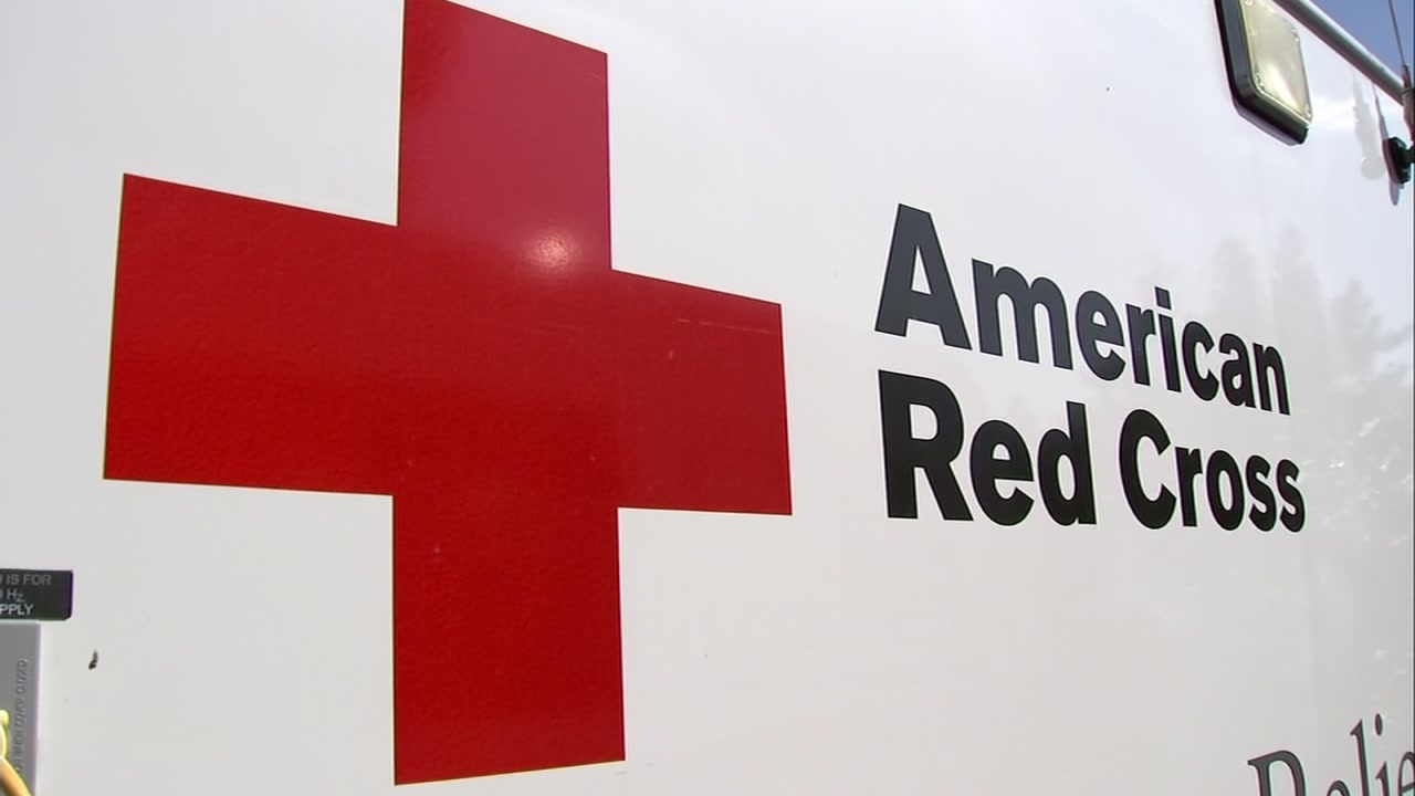 The Red Cross logo is shown on the side of an emergency relief vehicle on Thursday, Oct. 11, 2018 in San Jose, Calif.