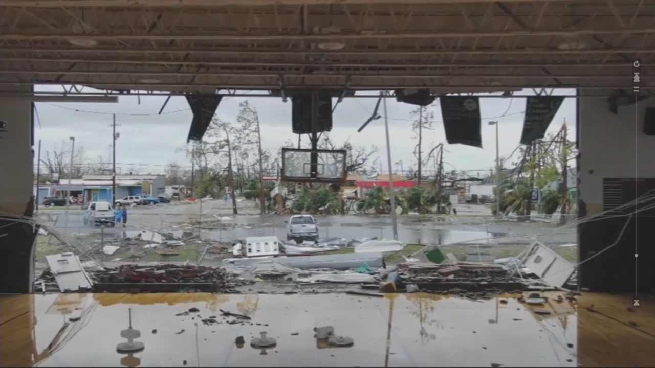 A middle school gym in Panama City, Fla., is destroyed after Hurricane Michael.