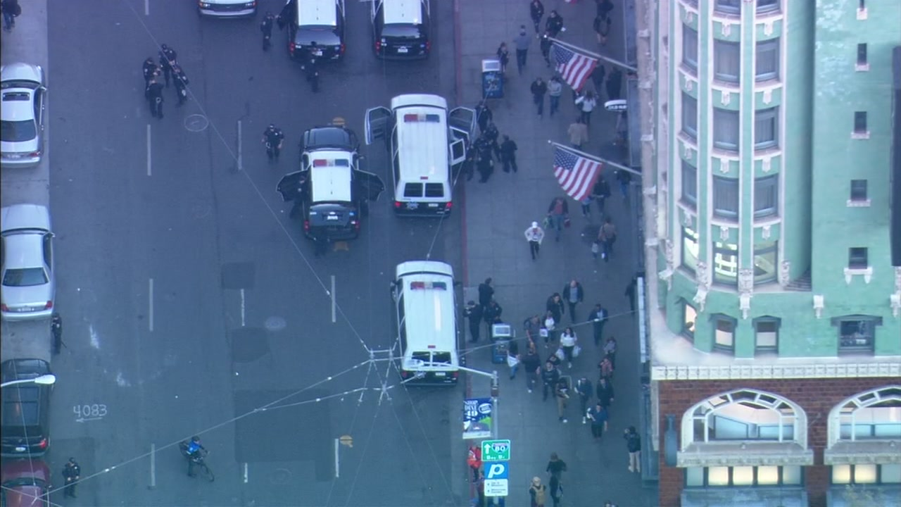 SKY7 was over a protest by Marriott employees in San Francisco on Friday, Oct. 12, 2018.