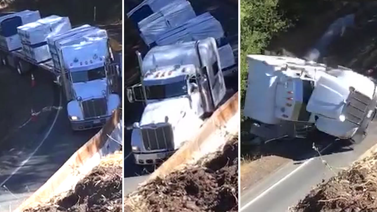 These images show a truck overturning on a restricted road in Mendocino County, Calif.
