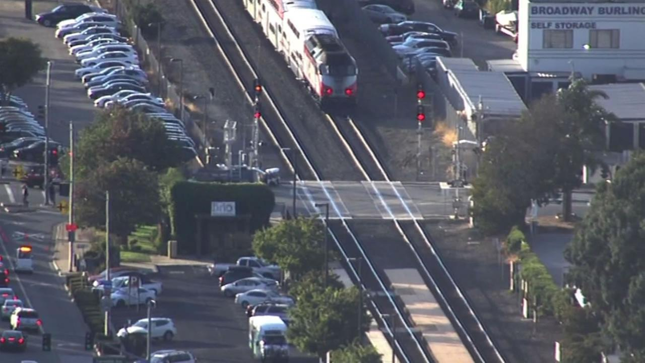 Caltrain hit a car in Burlingame at Broadway Avenue Oct. 1, 2015.
