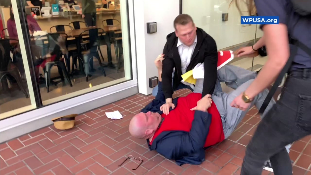 Uber driver Thom Hoffman was tackled to the ground outside the companys headquarters in San Francisco on Oct. 12, 2018.