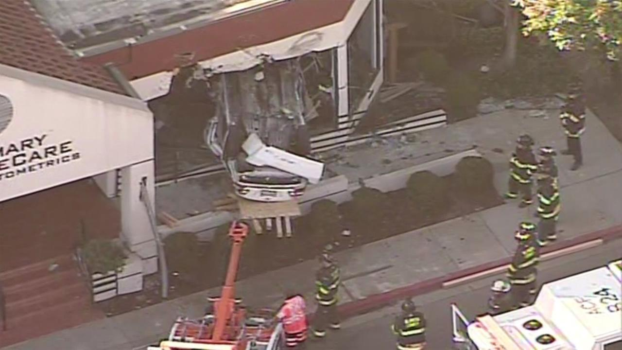 A speeding driver crashed her car into a doctors office in Castro Valley, Calif., on Friday, October 2, 2015.