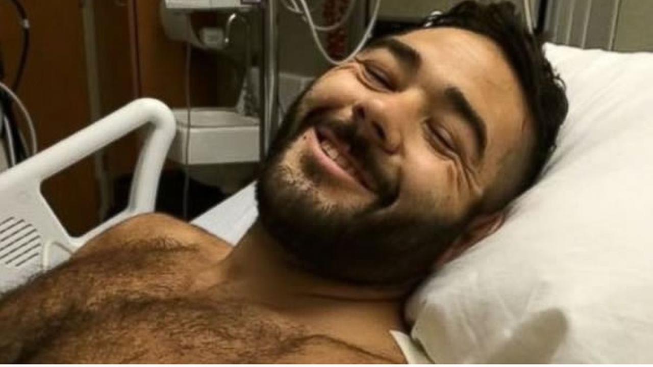 Chris Mintz, 30, recovers in the hospital on Friday, October 2, 2015 after getting shot repeatedly by a gunman at an Oregon community college.