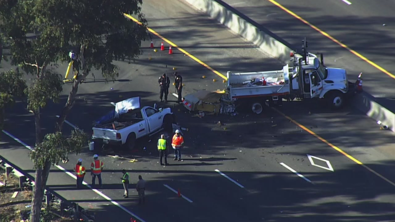 SKY7 is over an accident on Highway 101 in San Jose, Calif. that left a man and a dog dead on Monday, Oct. 15, 2018.