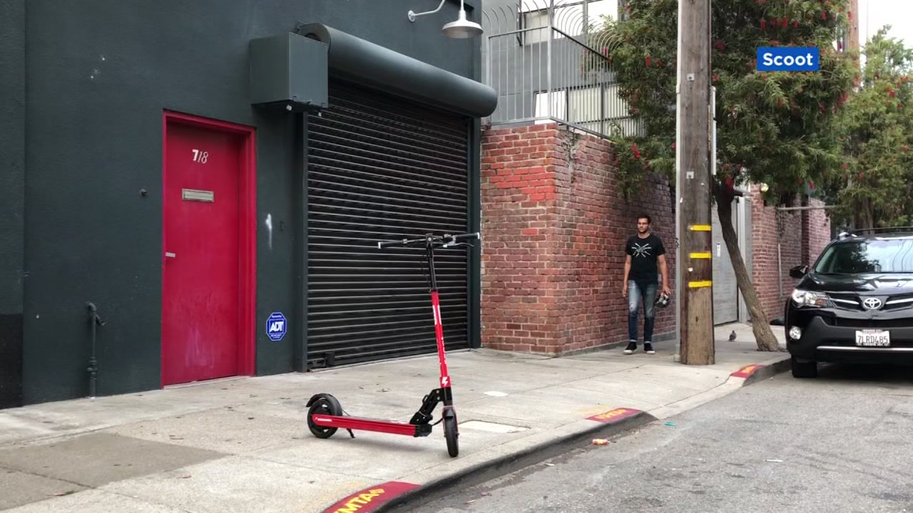 A scooter is pictured on the street in San Francisco on Monday, Oct. 15, 2018.